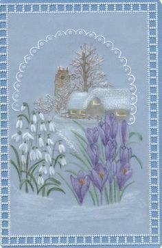 T T church snow flowers Christmas Pictures, Christmas Cards, Xmas, Parchment Design, Paper Art, Paper Crafts, Parchment Cards, Die Cut Cards, Pattern