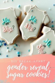 Break Apart Gender Reveal Sugar Cookies: A DIY Tutorial - Kisses + Caffeine Gender Reveal Food, Gender Reveal Cookies, Baby Reveal Cakes, Baby Gender Reveal Party, Baby Cookies, Sugar Cookies, Royal Icing Cookies, Cookie Icing, Bakery Business