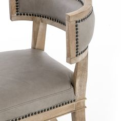 The traditional style Connor Dining Chair features unique curved back legs, bringing added visual imagery its design. Designed with luxurious cushions, this chair is comfortable as well as chic with its brass nailhead detail. Klismos Dining Chair, Dinning Chairs, Leather Dining Chairs, Dining Table, Dining Furniture Sets, Furniture Ideas, Comfortable Dining Chairs, Restoration Hardware Dining Chairs, Burke Decor
