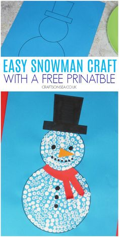 This winter craft for kids is easy to make using our free printable! Try this snowman craft that uses cheap materials, making it perfect for larger groups like school or preschoool.