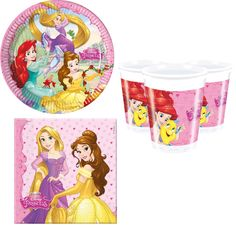 36 piece Disney Princess birthday party tableware set. Official Disney plates, cups and napkins.  Belle, Rapunzel, Ariel party inspiration