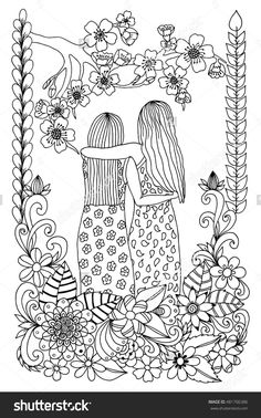 Zentangle Girlfriend At Sakura Flowers. Doodle Drawing Coloring Anti Stress For Adults 481706386 : Shutterstock