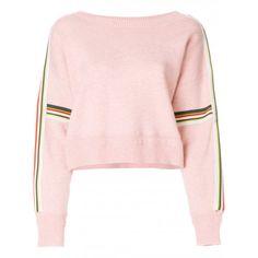 Isabel Marant Étoile Kao Sweatshirt ($435) ❤ liked on Polyvore featuring tops, hoodies, sweatshirts, party tops, pink long sleeve top, drop shoulder tops, holiday party tops and long sleeve tops