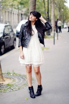 white floaty dress + black leather jacket + booties