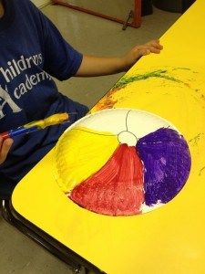 summer crafts - beach ball made from paper plate and paint