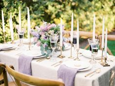 Lavender linens + gold table decor: http://www.stylemepretty.com/virginia-weddings/leesburg/2016/05/30/wine-crepes-and-lavender-all-things-french-live-in-this-provencal-wedding-inspiration/ | Photography:Alicia Lacey Photography - http://alicialaceyphotography.com/