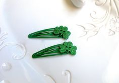 A personal favorite from my Etsy shop https://www.etsy.com/listing/503041146/st-patricks-day-hair-clip-shamrock-hair