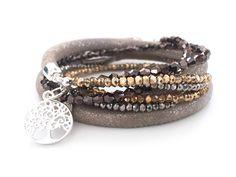 Armband brillant desert von anke decker creative jewelry. Glamouröses Lederarmband mit funkelnden Glasschliffperlen. Der Trend für den Sommer, New Metallic!