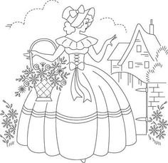 stencils for embroidery | garden lady embroidery pattern free embroidery pattern to print and ...