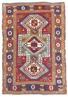 "Sewan Kazak, Late 19th C,  Caucasus - WIDTH: 5' 0"" x LENGTH: 7' 4"""