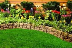 Front flower bed ideas... Love the brick