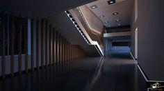 Diseño hall zona de oficinas