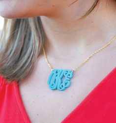 The possibilities are endless with these acrylic monogram necklaces. There are 3 sizes and 14 colors to choose from.  This listing is for a gold chain, if you would like silver, that option is available in our shop as well.  How to order: 1. Choose your size and font 2. Choose your pendant color 3. In the note to seller section include the initials you want in the correct order (last name in the center)