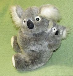 "Vintage 1997 KOALA & BABY Just Friends Plush 12"" Stuffed Animal Grey White Lovie #JustFriends"