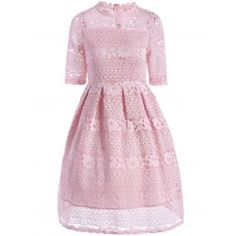 Great reputation fashion retailer with large selection of womens & mens fashion clothes, swimwear, shoes, jewelry, accessories selling at a cheap price. Pink A Line Dress, Pink Dress, Sheer Lace Dress, Beautiful Summer Dresses, Dress Silhouette, Knee Length Dresses, Fashion Outfits, Fashion Clothes, Women's Fashion