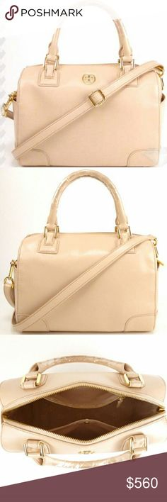 """Tory Burch Robinson Leather Satchel Crossbody NWT-RETAIL. 100% AUTHENTIC (I DO NOT SELL OR BUY ANY COUNTERFEIT OR REPLICA ITEMS)! TORY BURCH DARK SAHARA ROBINSON SAFFIANO LEATHER CROSSBODY SATCHEL. FEATURES: Top zip closure, protective metal feet, two outside open pockets, fully lined, three interior pockets; one with snap closure, one zip closure & one open card slot pocket. Double top handles 5"""" drop, detachable adjustable shoulder strap with 10.5-24 in drop. Approx 11.5""""L x 9""""H x 6.5""""D…"""
