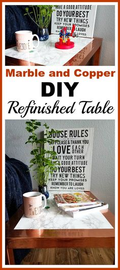 Marble and Copper DIY Refinished Table- You don't have to spend a lot of money, time, or effort to revamp an old table! Here is how I created this marble and copper DIY refinished table! | upcycle, DIY project, furniture makeover, easy DIY, frugal DIY, inexpensive DIY, DIY decor