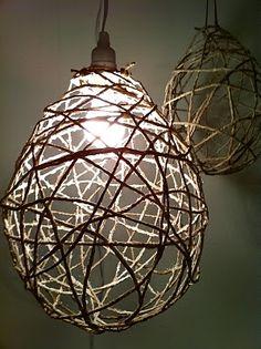 design devotee: DIY Jute String Chandeliers