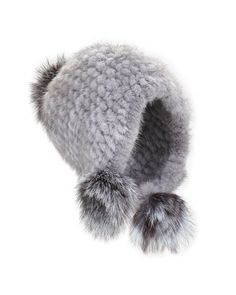 D10FA Jocelyn Knitted Mink Fur Hat w/Pom-Poms