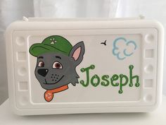Personalized Paw Patrol Rocky pencil case, art, crayon box kids party favor -birthdays,communions by KUTEKUSTOMKREATIONS on Etsy Pink Turquoise, Purple, Blue Green, Yellow, Paw Patrol Rocky, Party Favors For Kids Birthday, Crayon Box, Personalized Party Favors, Kids Boxing