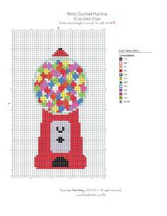 Retro Gumball Machine. Dmc Cross Stitch, Cross Stitching, Cross Stitch Patterns, Crochet Ideas, Crochet Patterns, Gumball Machine, Mini Mini, Diy Projects To Try, Needlepoint