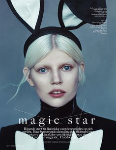 The fashionable magician strikes through in Boe Marion's framing of the upcoming model Ola Rudnicka for the April 2014 issue of Vogue Netherlands.