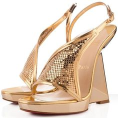 Christian Louboutin Roxy Muse 120mm Wedges Gold | See more about leather wedges, christian louboutin shoes and platform wedge.