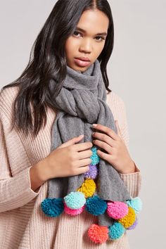 Product Name:Brushed Knit Pom Pom Scarf, Category:ACC, Price:19.9