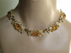 Vintage 1950s Coro Wedding Necklace Topaz Rhinestone Pegasus 1940s Bridal Fashions. $89.00, via Etsy.