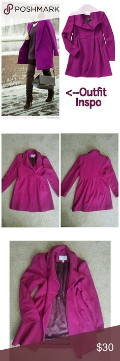 Magenta Coat Pique wool-blend coat. Fully lined. Puffed shoulder seams. Double breasted button closure, buttons are only at the top above the empire seam,  flares out bottom. Leans a little more purple than I could capture in the pics. Old Navy Jackets & Coats
