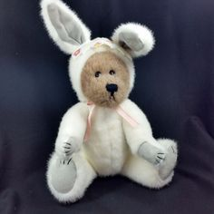 *1996 Boyds Easter Bunny Teddy Bear Jointed Rabbit White Plush Stuffed Toy Doll  #TheBoydsCollectionLTD #Easter
