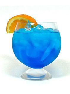 Tasty Rocky Mountains (1½ oz. of Van Gogh Blue Vodka  ½ oz. orange liqueur  ½ oz. blue curacao  1 oz. orange juice  2 splashes of sour mix  Garnish: orange wedge)