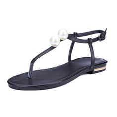 De mujer Sandalias Solo correa Tacón plano Piel Zapatos