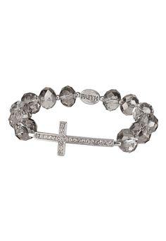 Rhinestone Cross Faith Bracelet available at #Maurices I have this bracelet......soooo cute!