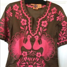 Tory Burch Cotton embroidered tunic. Tory Burch cotton embroidered tunic, size 2. Short sleeve, lots of embroidered detail, in excellent condition. Worn a few times only. Tory Burch Tops Tunics