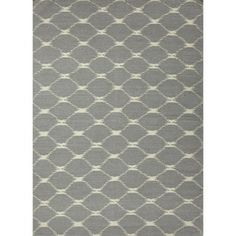 Flat Weave Geometric Blue Wool Rug (5' x 8')