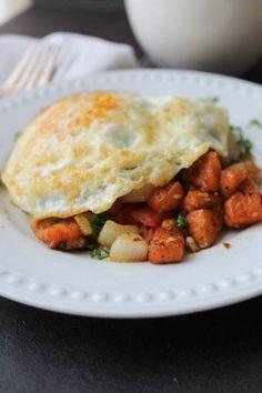 Sweet Potato Hash with Eggs Grain Free, Gluten Free #healthy #breakfast #dinner #recipe #detox #paleo