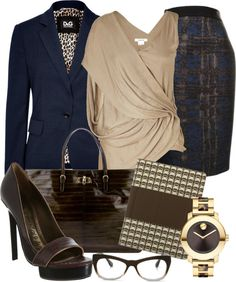 """Business Class ~Brown & Navy~"" by gangdise on Polyvore"