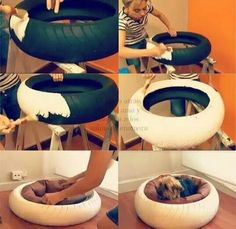 New take on an old tire... A dog bed! Recycle :-)…