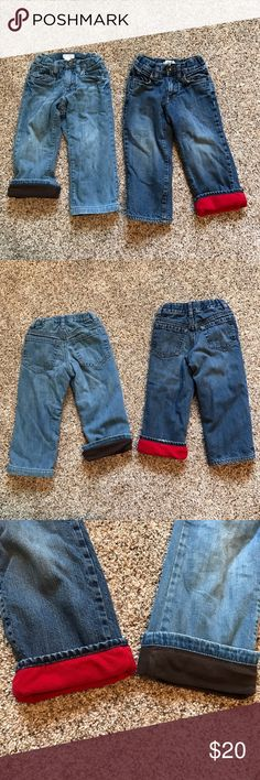 Lot of 2 Old Navy Fleece Lined Jeans 3T Lot of 2 Old Navy Blue Jeans with Red and Chocolate Brown Thick Warm Fleece Lining. Both are Size 3T and in very good condition. Old Navy Bottoms Jeans