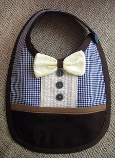 Blue and brown baby boy bib Little gentleman READY TO by SuenoLoco, £12.00