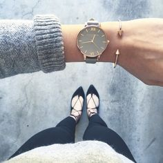 Olivia Burton Big Dial Rose Gold with Grey Leather | Two Threaded Poppies