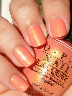OPI Sacramento Pimento    How gorgeous is this apricot shade?! The shimmer is devine. Too bad its 8-9 years old.. it's impossible to track down a bottle now.. ):