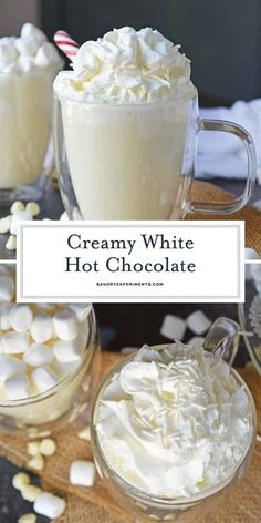Homemade White Hot Chocolate is the perfect drink for warming up on cold days. W… Homemade White Hot Chocolate is the perfect drink for warming up on cold days. White chocolate hot chocolate is delicious, quick and easy to make! Winter Drinks, Holiday Drinks, Holiday Recipes, Non Alcoholic Christmas Drinks, Christmas Recipes, Holiday Parties, Hot Chocolate Bars, Hot Chocolate Recipes, Homemade Hot Chocolate