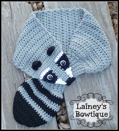 Crochet Raccoon Scarf by LaineysBowtique on Etsy