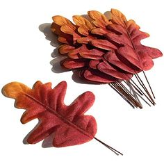 20 Artificial Autumn Oak Fabric Leaves
