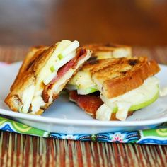 Green Apple, Bacon, Gouda and Havarti Grilled Cheese by Becky Bakes. >> I would leave out the bacon, YUM!