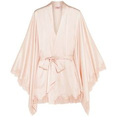 Agent Provocateur Abbey lace-trimmed stretch-silk satin robe ($840) ❤ liked on Polyvore featuring intimates, robes, pink, pink kimono robe, vintage kimono, pink slip, kimono robe and satin slip