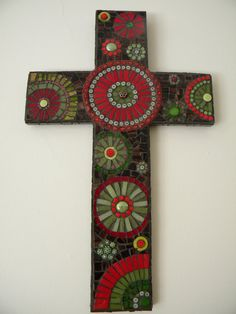 Red & Green Mosaic Cross by TheMosartStudio on Etsy