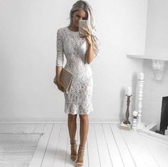 Sexy Women Lace Hollow See Through Dress Vintage Floral Bodycon Party Club Wear